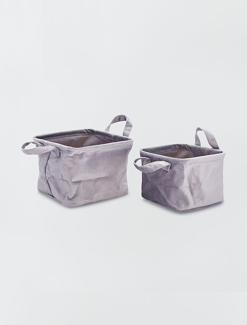 2 cestas cuadradas de terciopelo                                                                 antractita