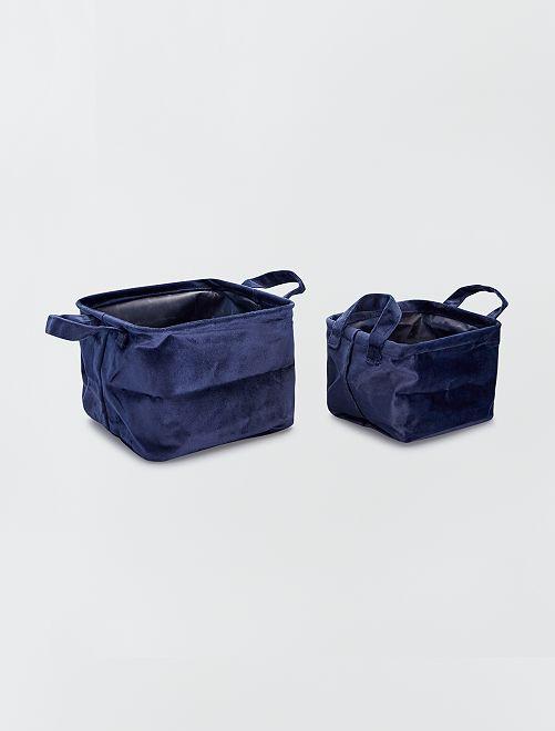 2 cestas cuadradas de terciopelo                                                                 AZUL