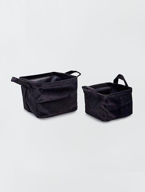 2 cestas cuadradas de terciopelo                                                                 negro