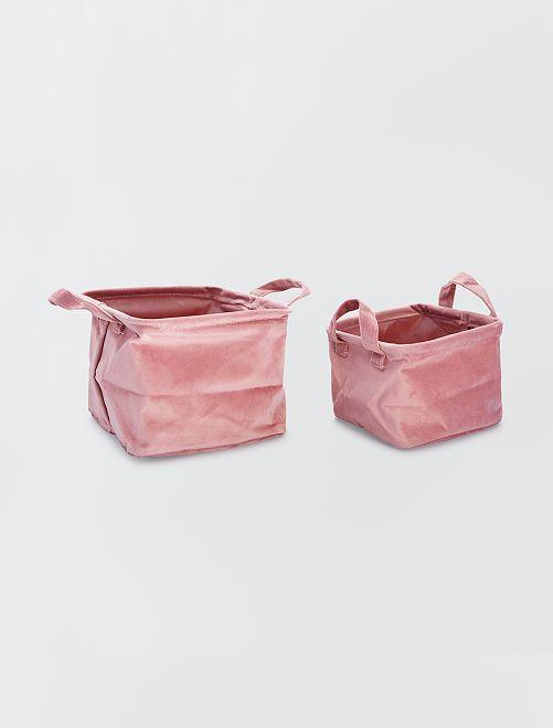 2 cestas cuadradas de terciopelo                                                                 rosa