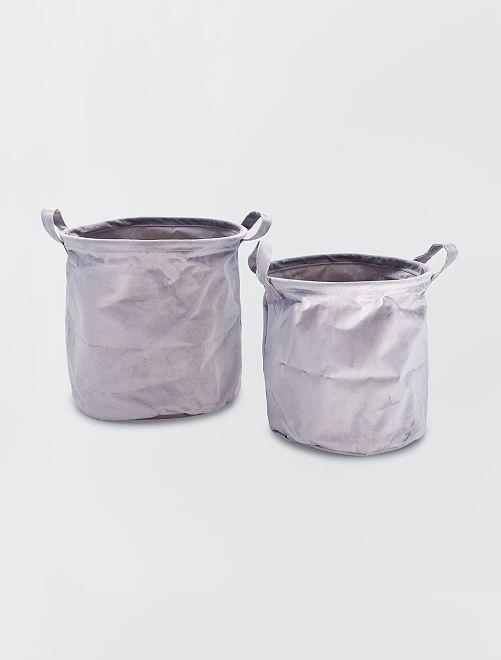 2 cestas redondas de terciopelo                                                     antractita
