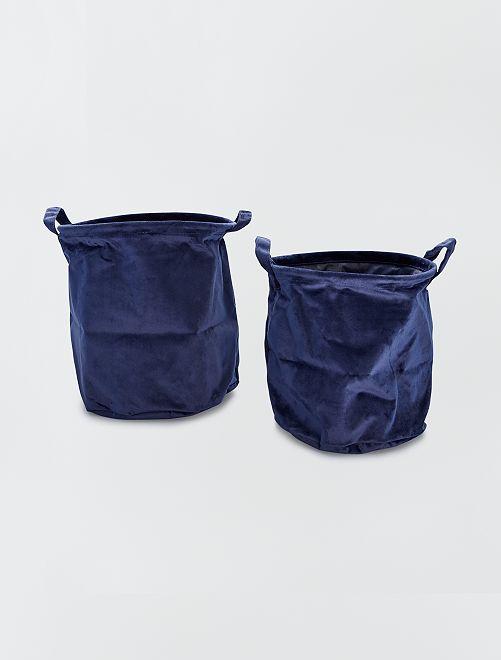 2 cestas redondas de terciopelo                                                                 AZUL