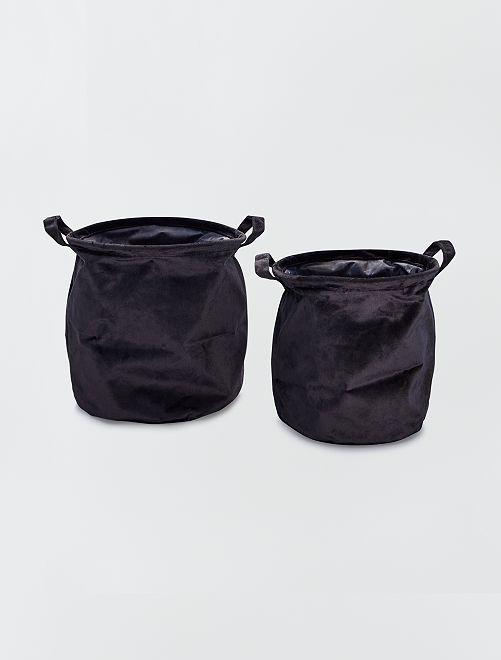 2 cestas redondas de terciopelo                                         negro
