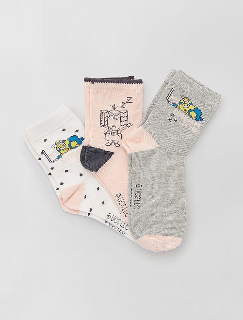 3 pares de calcetines 'Minions'                             ROSA