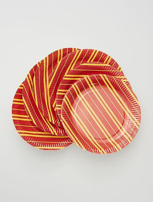 6 platos de cartón                             rojo