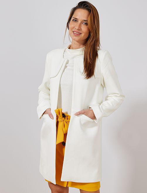 Abrigo arreglado con cuello redondo                                         blanco nieve Mujer talla 34 a 48
