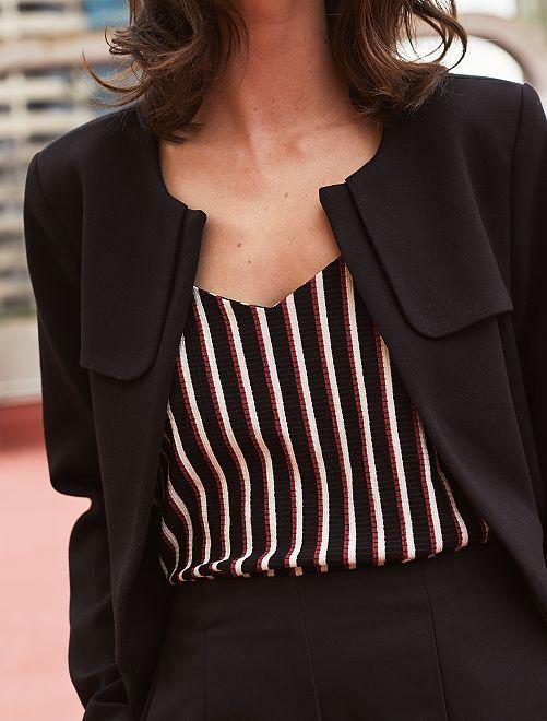 Abrigo arreglado con cuello redondo                                         negro Mujer talla 34 a 48