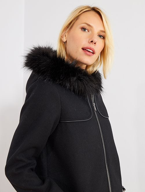 Abrigo caban efecto lana                             negro