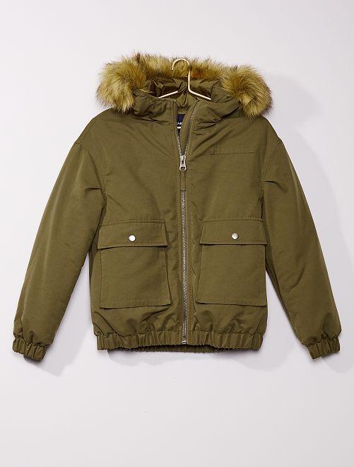 Abrigo con capucha de pelo sintético                             KAKI