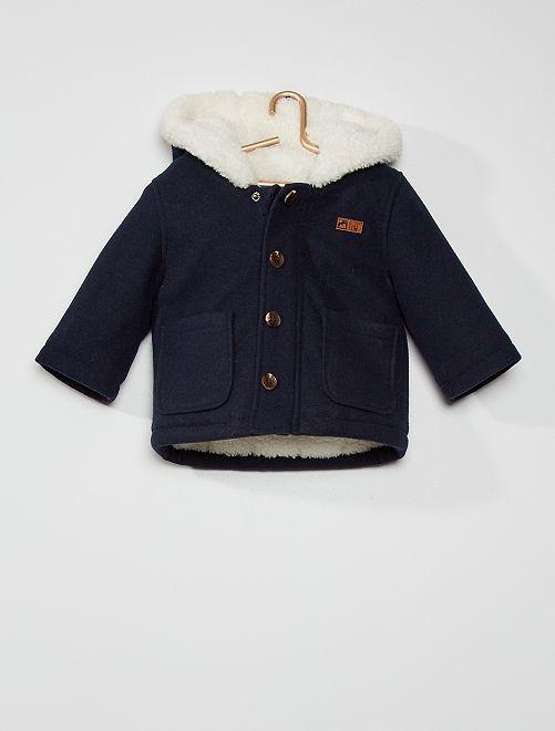 Abrigo con capucha estilo lana                                                                 azul