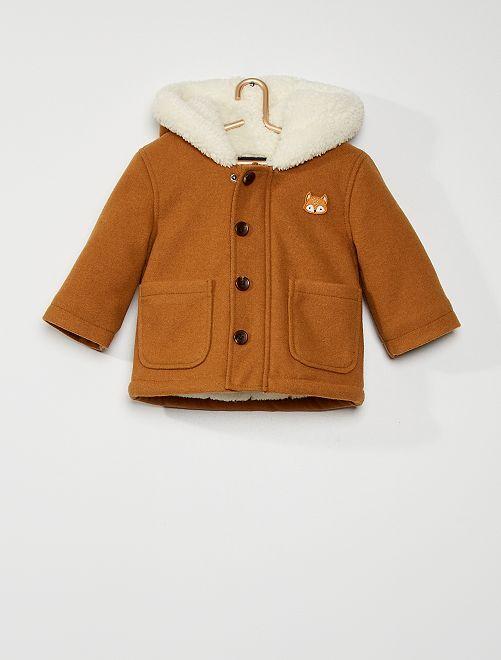 Abrigo con capucha estilo lana                                                                 BEIGE