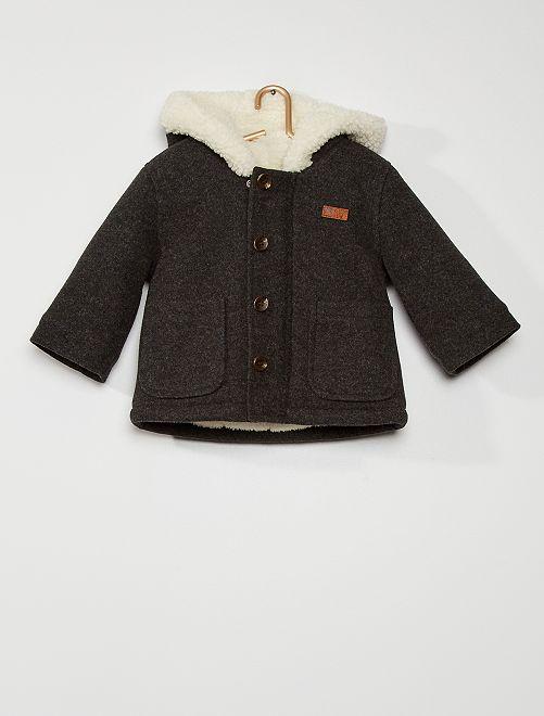 Abrigo con capucha estilo lana                                                                 GRIS