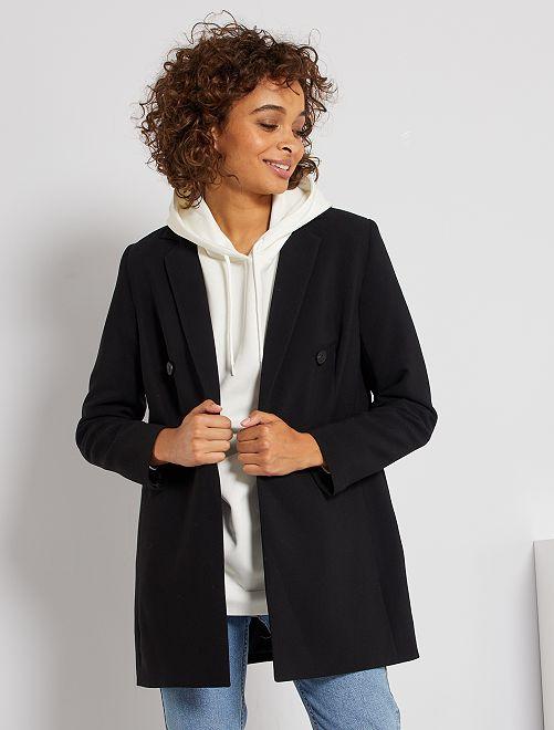Abrigo corto con botonadura cruzada                                         negro