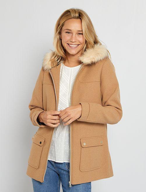 Abrigo de lana con capucha                                                     BEIGE