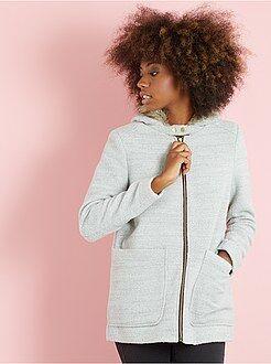 Abrigos - Abrigo de lana sintética con capucha