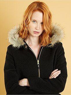 Mujer Abrigo de lana sintética con capucha
