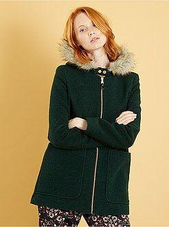 Abrigos y cazadoras verde - Abrigo de lana sintética con capucha