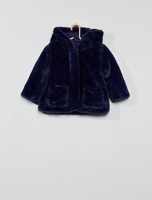 Abrigo de pelo sintético con capucha                             azul