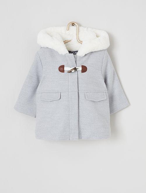 Abrigo de pelo sintético con capucha                                         GRIS