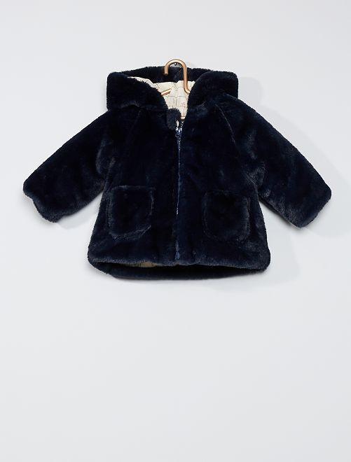 Abrigo de pelo sintético con capucha 'orejas'                     AZUL