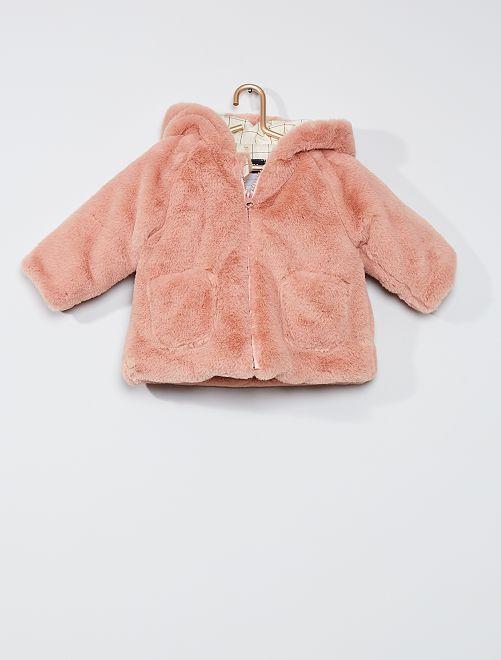 Abrigo de pelo sintético con capucha 'orejas'                                                     ROSA
