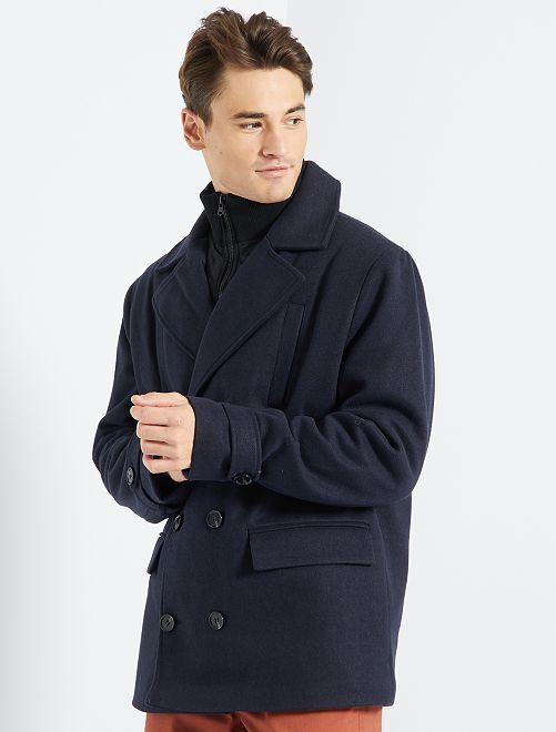 Abrigo efecto lana                                         azul marino