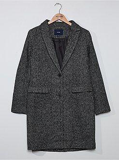 Abrigo efecto lana de espiga - Kiabi