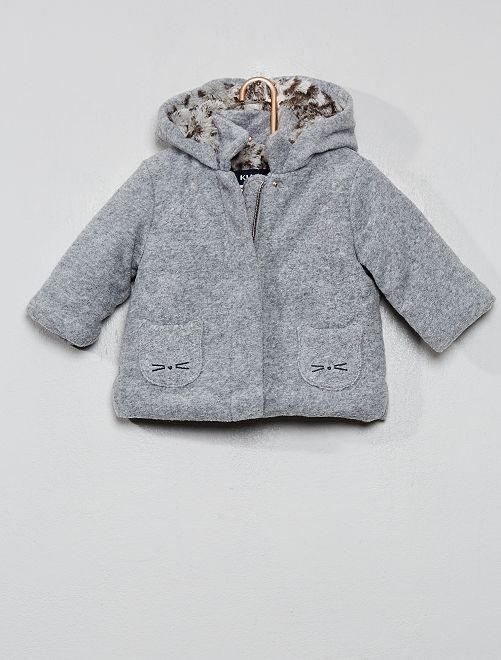 Abrigo efecto lana forrado                             GRIS