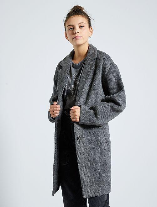Abrigo efecto lana                                                     GRIS