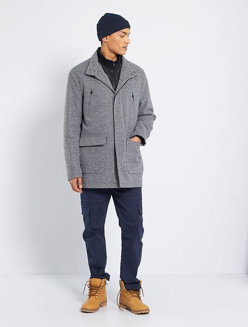 Abrigo efecto lana jaspeada                             gris