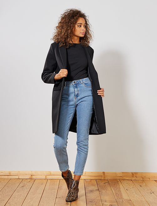Abrigo efecto lana                                                                 negro