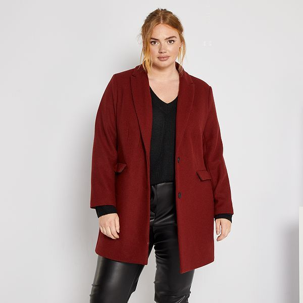 Abrigo Efecto Lana Tallas Grandes Mujer Rojo Kiabi 45 00