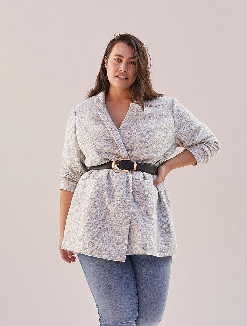 Abrigo estilo paño de lana                             GRIS
