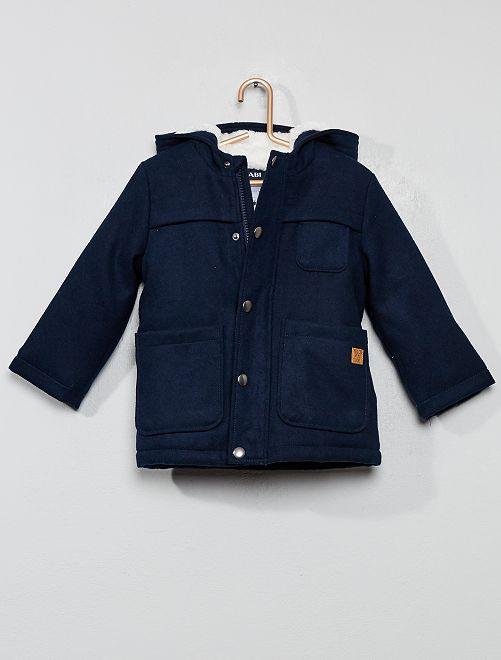 Abrigo grueso con forro de borreguito                     azul