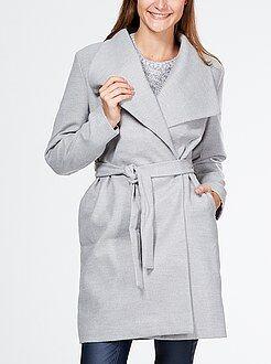 Mujer Abrigo largo con cinturón y cuello amplio