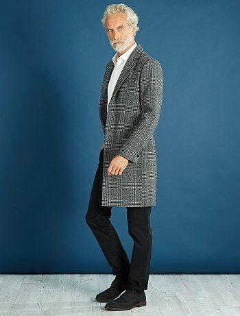 Abrigo largo de cuadros de efecto lana - Kiabi