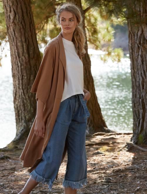 Abrigo largo de lyocell beige Mujer