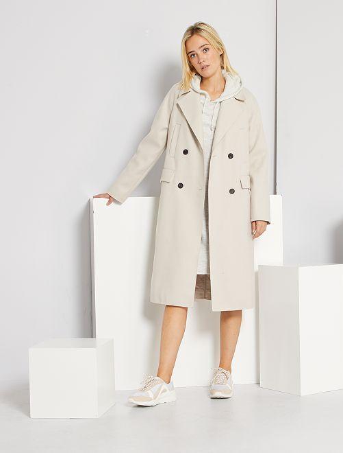 Abrigo largo efecto lana                                                                 blanco nieve