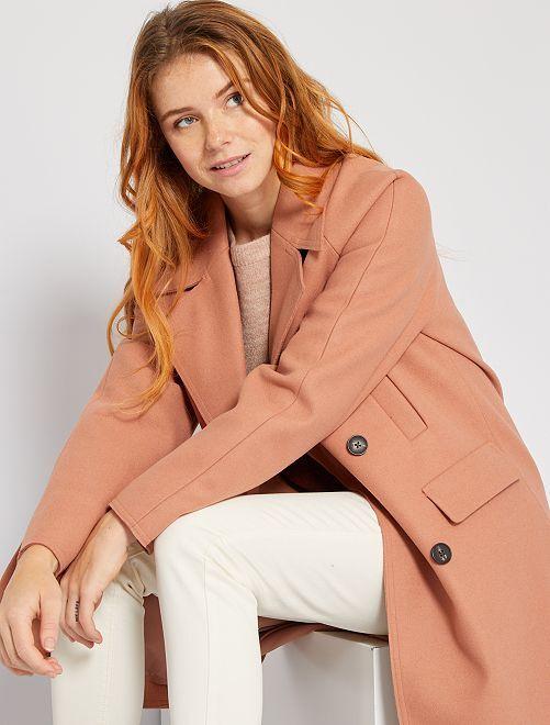 Abrigo largo efecto lana                                                                 ROSA
