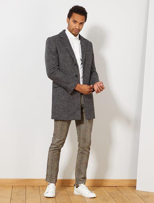 Abrigo largo estilo lana                             GRIS Hombre