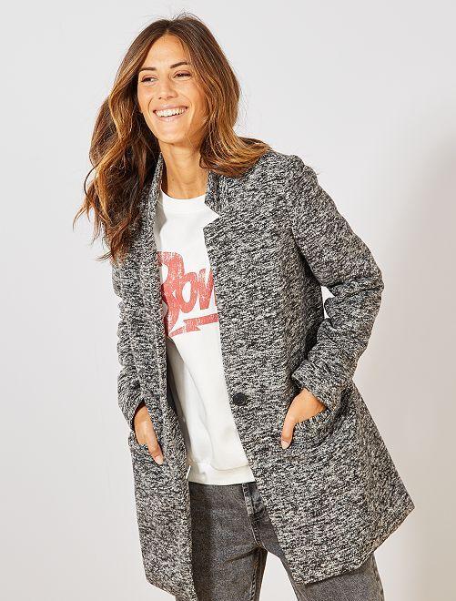 Abrigo ligero efecto lana                                         NEGRO Mujer talla 34 a 48