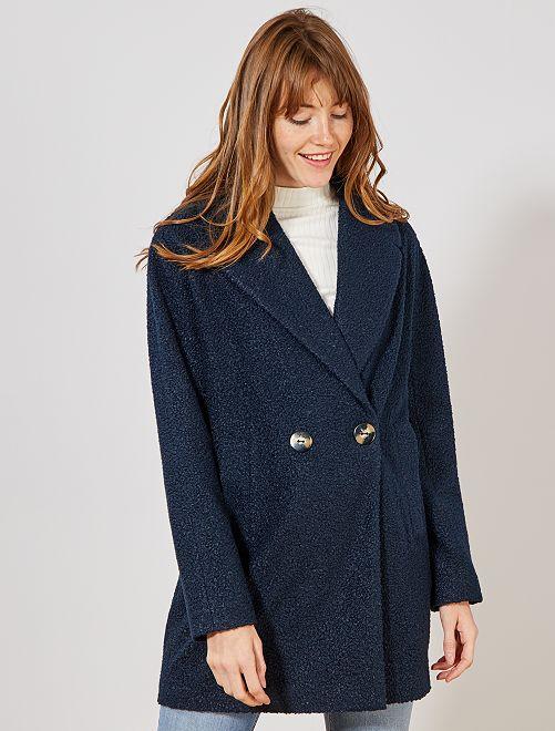 Abrigo pelito doble botonadura                                 azul