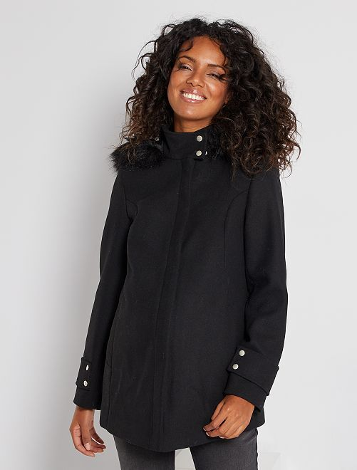 Abrigo premamá efecto lana                                         negro