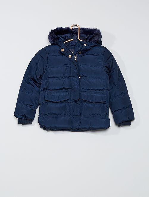 Anorak acolchado con capucha                                         azul