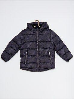 Anorak acolchado con capucha y forro de tejido polar