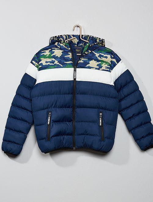 Anorak con capucha colorblock                                         azul marino