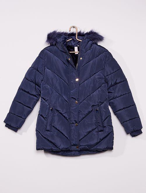 Anorak con capucha de pelo                                         azul marino