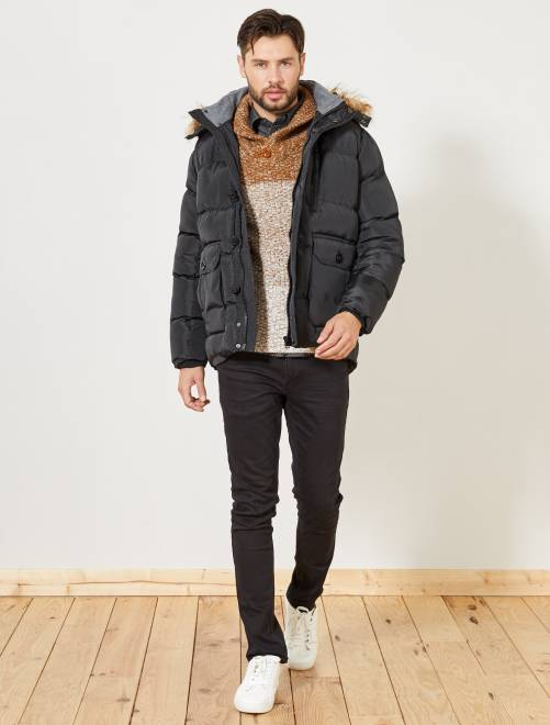 Anorak con capucha de pelo                                         negro Hombre