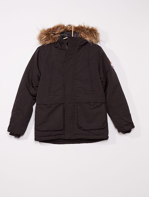 Anorak con capucha de pelo sintético                     negro