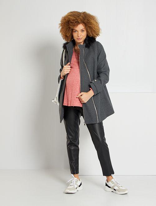 Anorak con capucha de premamá estilo lana                                         GRIS